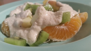 Runny Cashew Nut Cream on fruit salad