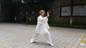 Margie practicing Daily in China