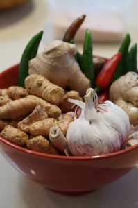 Garlic, ginger and chilli