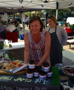 Kath at the market with her seasonal local fare